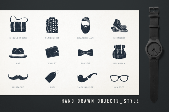 Print on Demand: Mr.Hipster. 37 Hand Drawn Objects Graphic Objects By Cosmic Store - Image 4