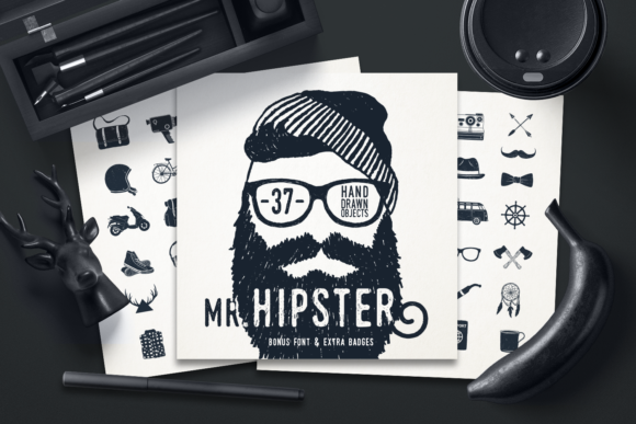 Print on Demand: Mr.Hipster. 37 Hand Drawn Objects Graphic Objects By Cosmic Store
