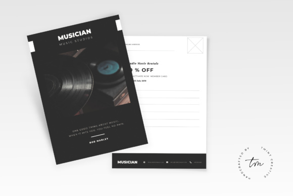 Music Postcard Flyer Graphic Print Templates By TMint