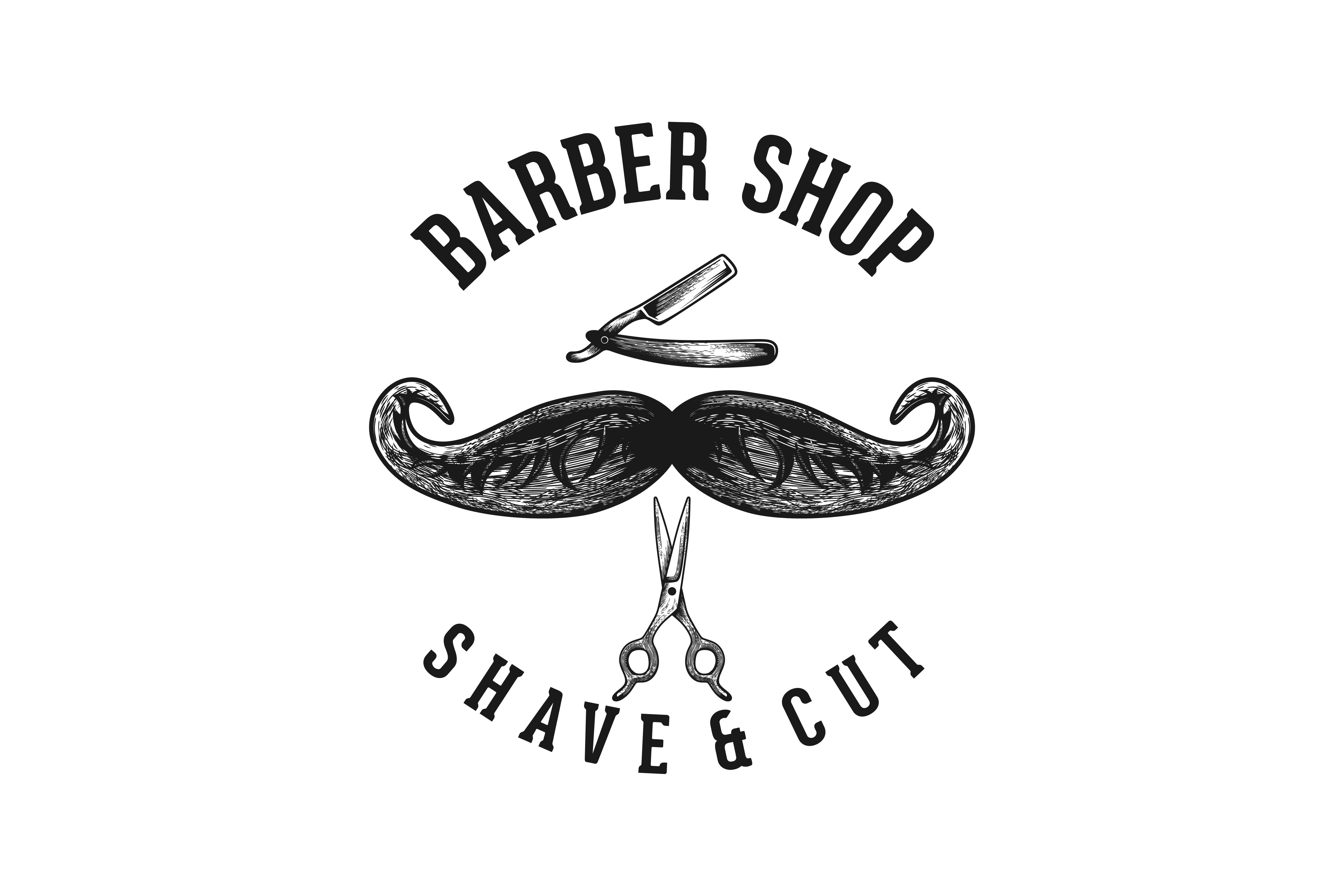Download Free Mustache And Razor Blade Barber Logo Grafico Por for Cricut Explore, Silhouette and other cutting machines.