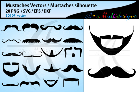 Print on Demand: Mustaches Svg Silhouette Graphic Crafts By Arcs Multidesigns