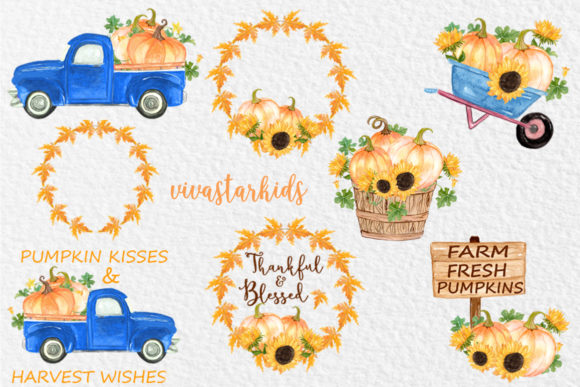 Pumpkin Truck Clipart Thanksgiving Clipart Graphic Illustrations By vivastarkids - Image 2