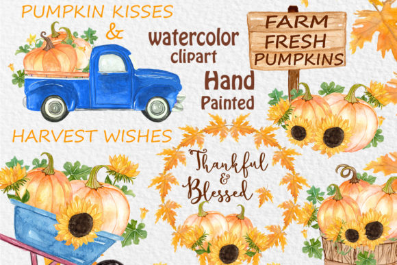 Pumpkin Truck Clipart Thanksgiving Clipart Graphic Illustrations By vivastarkids - Image 1