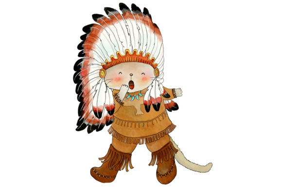 Native Indian Cats Clip Art Graphic By Jen Digital Art Image 2