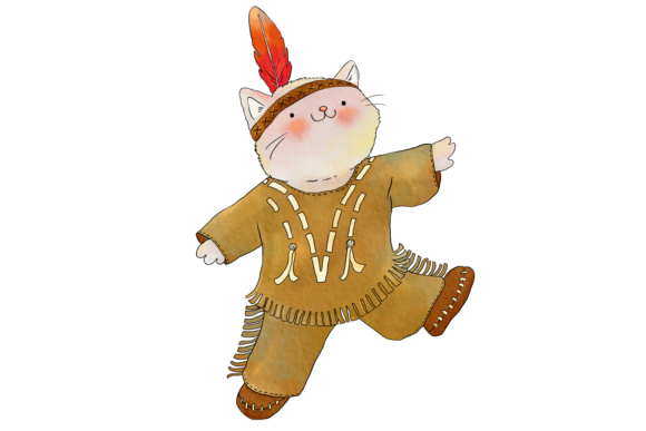 Native Indian Cats Clip Art Graphic By Jen Digital Art Image 3