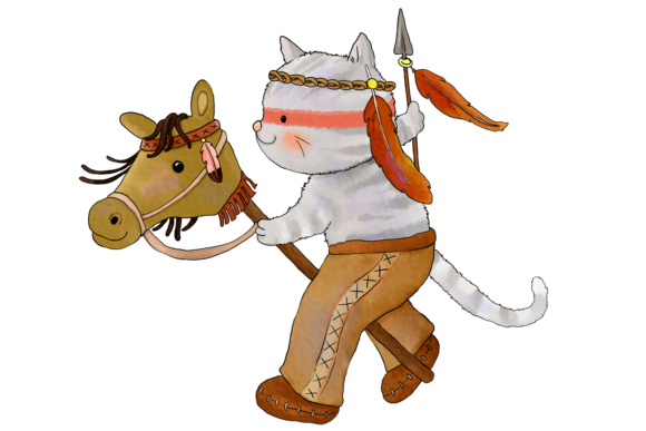 Native Indian Cats Clip Art Graphic By Jen Digital Art Image 4