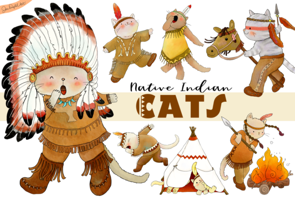 Native Indian Cats Clip Art Graphic By Jen Digital Art Image 1