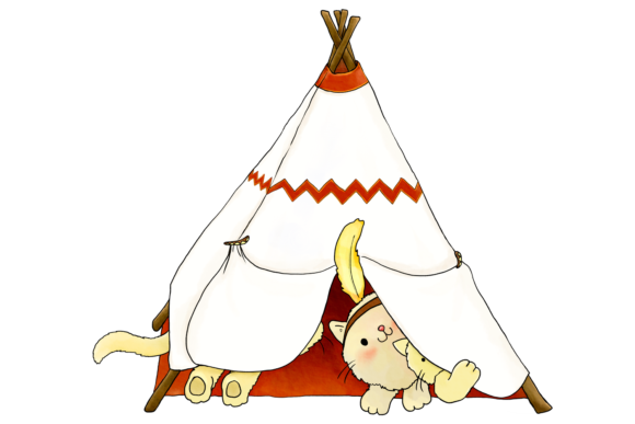Native Indian Cats Clip Art Graphic By Jen Digital Art Image 8