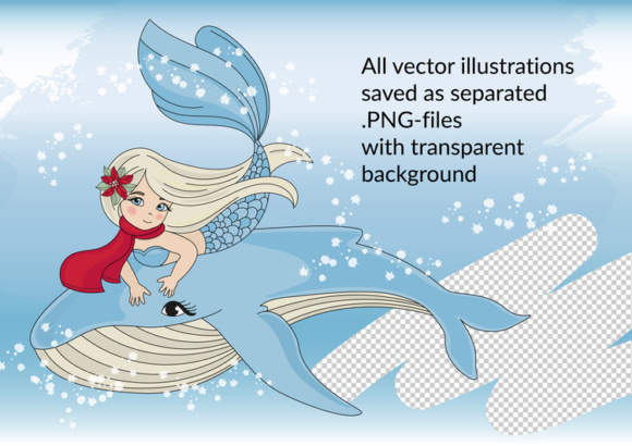 Print on Demand: CHRISTMAS MERMAID Vector Illustration Set Graphic Illustrations By FARAWAYKINGDOM - Image 2