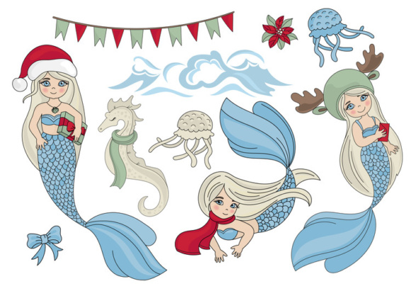 Print on Demand: CHRISTMAS MERMAID Vector Illustration Set Graphic Illustrations By FARAWAYKINGDOM - Image 11