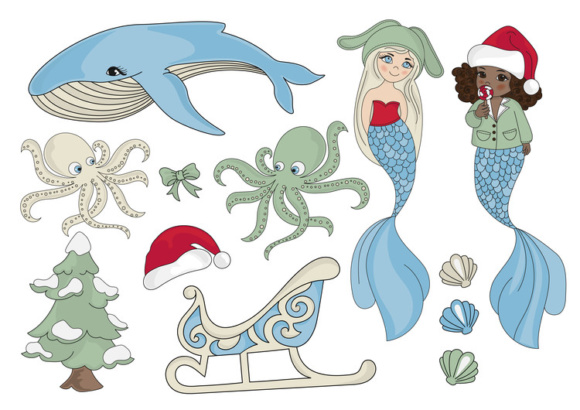 Print on Demand: CHRISTMAS MERMAID Vector Illustration Set Graphic Illustrations By FARAWAYKINGDOM - Image 12