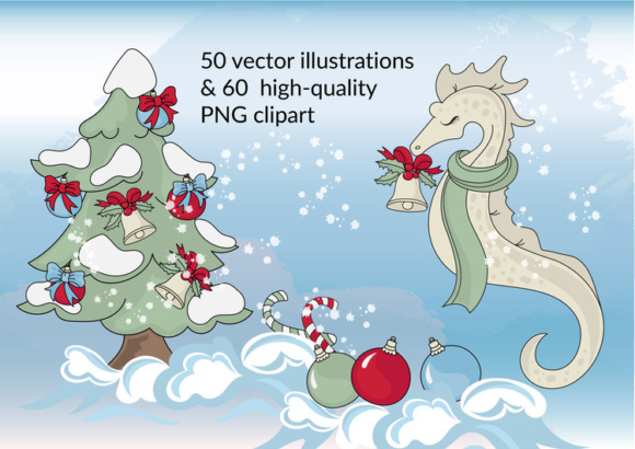 Print on Demand: CHRISTMAS MERMAID Vector Illustration Set Graphic Illustrations By FARAWAYKINGDOM - Image 4