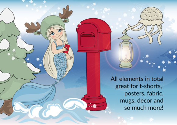 Print on Demand: CHRISTMAS MERMAID Vector Illustration Set Graphic Illustrations By FARAWAYKINGDOM - Image 5