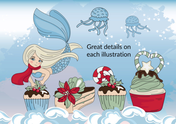 Print on Demand: CHRISTMAS MERMAID Vector Illustration Set Graphic Illustrations By FARAWAYKINGDOM - Image 7