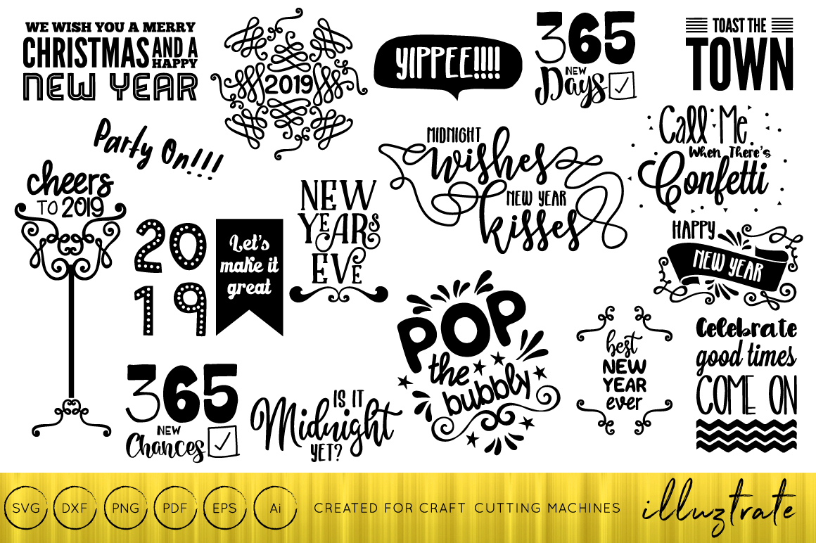 Download Free New Years 2019 Design Bundle Graphic By Illuztrate Creative for Cricut Explore, Silhouette and other cutting machines.