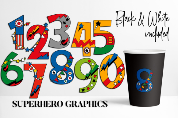 Download Free Numbers Superhero Graphic By Darrakadisha Creative Fabrica for Cricut Explore, Silhouette and other cutting machines.