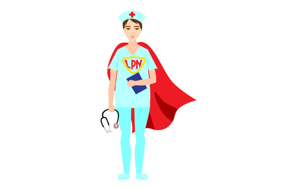 Nurse with a Superhero Cape and LPN on Their Chest Medical Craft Cut File By Creative Fabrica Crafts