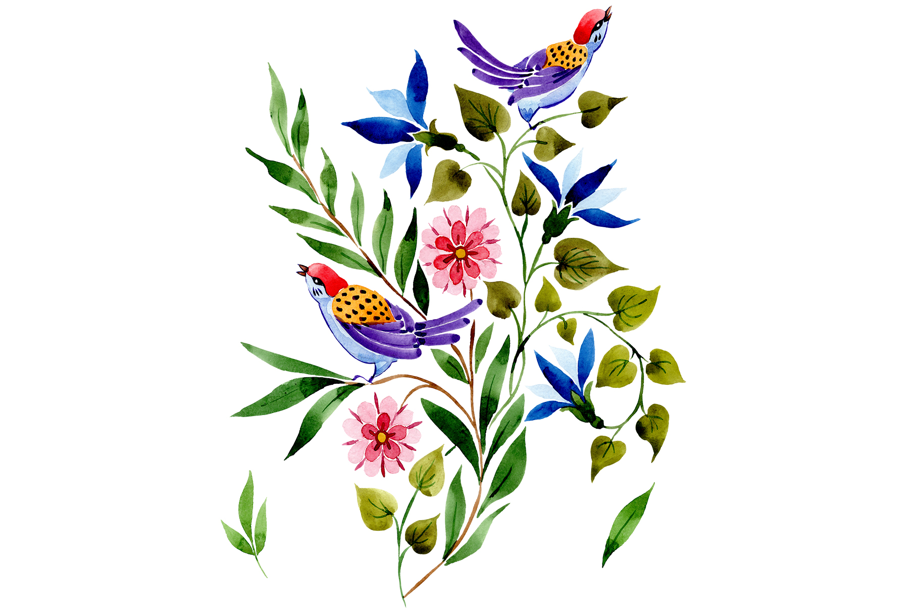 Download Free Ornament With Birds Watercolor Set Graphic By Mystocks for Cricut Explore, Silhouette and other cutting machines.