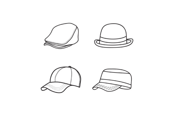 Print on Demand: Outline Hat Vector, Simple Cap Icon Design Graphic Logos By sabavector