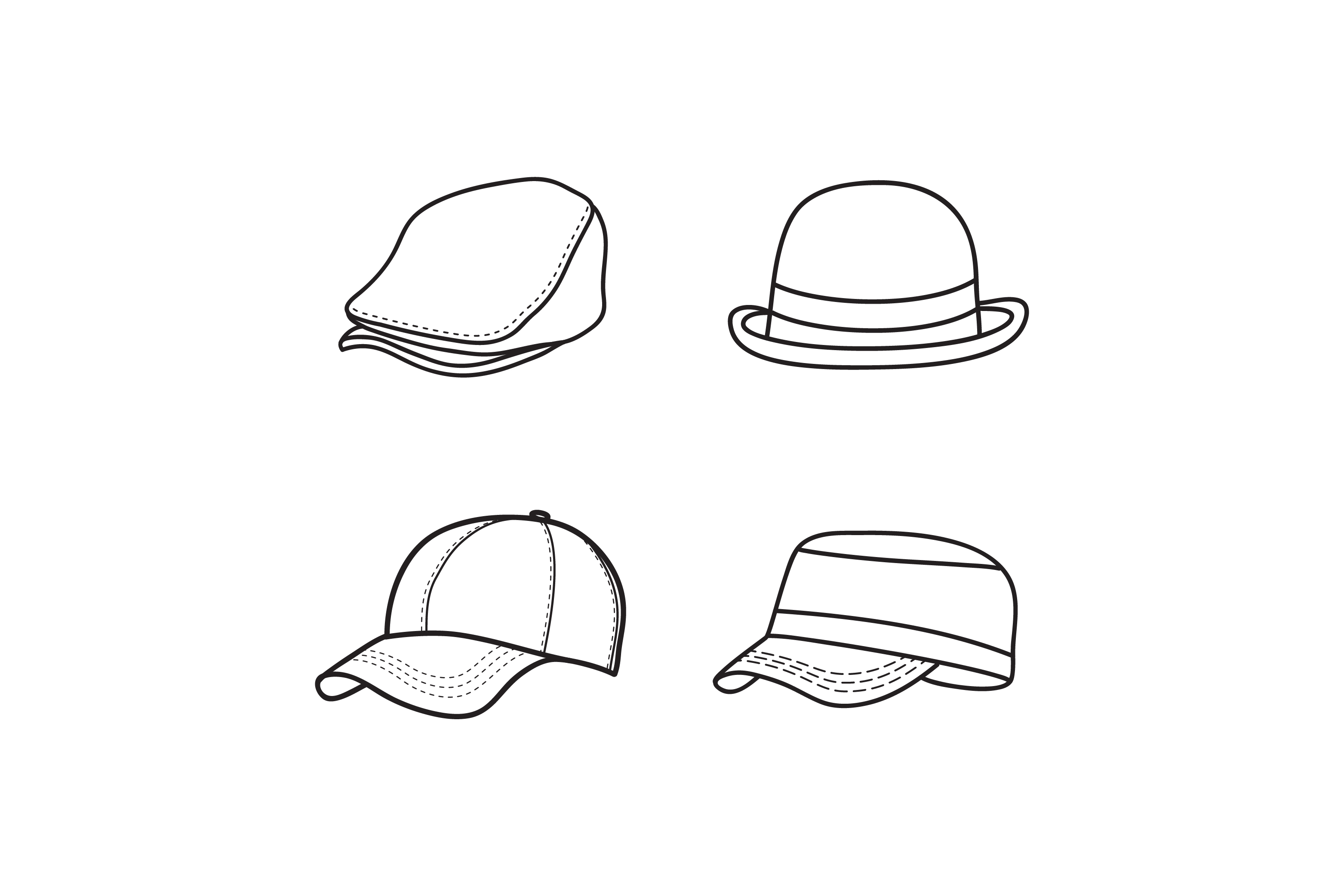 Outline Hat Vector Simple Cap Icon Design Graphic By Sabavector