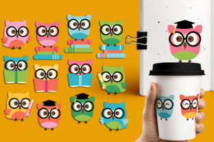 Owl with Glasses and Books Graphic By Revidevi