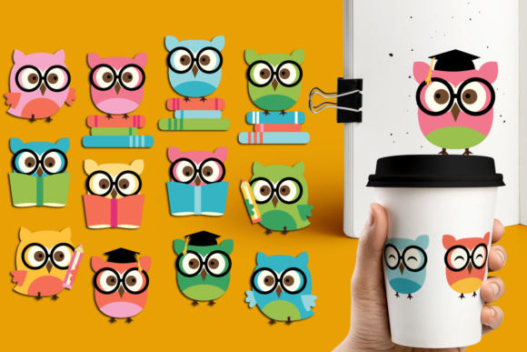 Print on Demand: Owl with Glasses and Books Graphic Illustrations By Revidevi