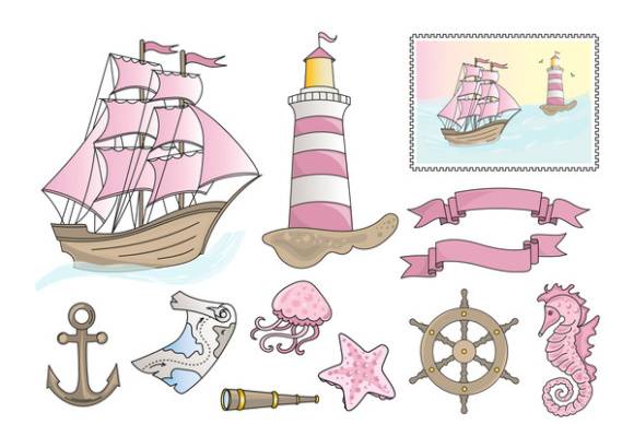 PINK SEA Color Vector Illustration Set