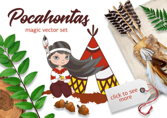 POCAHONTAS Cartoon Color Vector Illustration Set Graphic Illustrations By FARAWAYKINGDOM