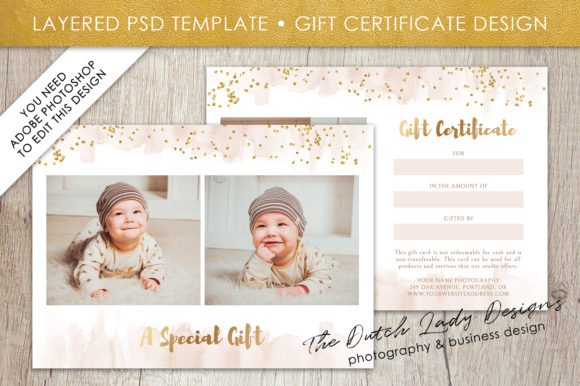 Print on Demand: PSD Photo Gift Card Template Graphic Print Templates By daphnepopuliers
