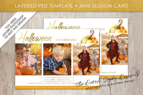Print on Demand: PSD Photo Mini Session Card Template Graphic Print Templates By daphnepopuliers