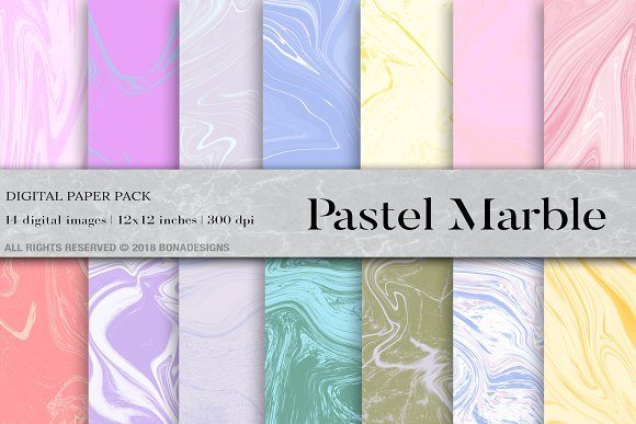 Pastel Marble Digital Paper Graphic Backgrounds By BonaDesigns