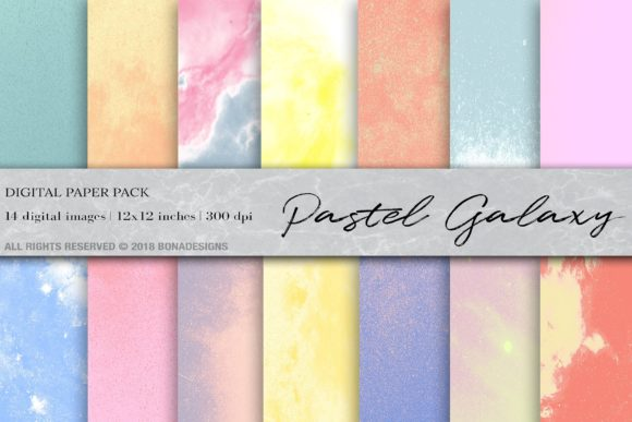 Download Free Pastel Space Galaxy Digital Paper Graphic By Bonadesigns for Cricut Explore, Silhouette and other cutting machines.