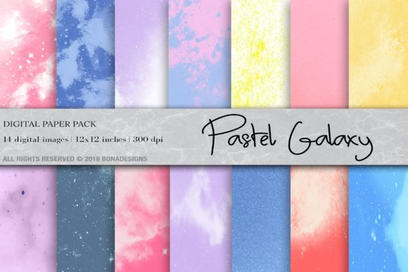Pastel Space Galaxy Digital Paper Graphic Backgrounds By BonaDesigns