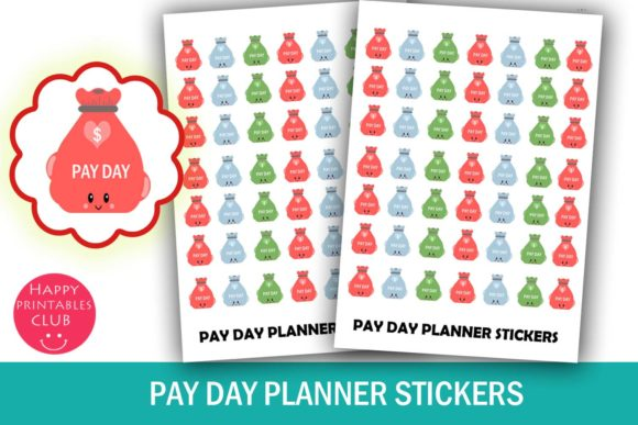 Print on Demand: Pay Day Money Bag Planner Stickers- Pay Day Planner Stickers- Cute Planner Stickers-Finance Stickers Graphic Crafts By Happy Printables Club