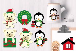 Penguins and Polar Bear Christmas Graphics Graphic By Revidevi