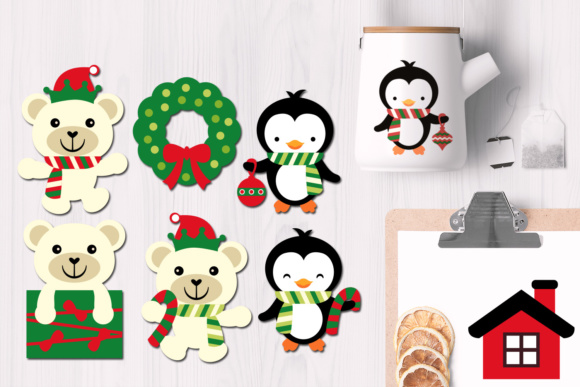 Download Free Penguins And Polar Bear Christmas Graphics Graphic By Revidevi for Cricut Explore, Silhouette and other cutting machines.