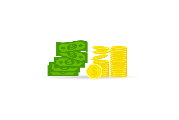 Download Free Pile Of Coins And Dollar Banknotes Graphic By Sabavector for Cricut Explore, Silhouette and other cutting machines.