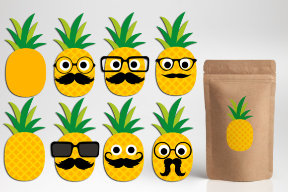 Download Free Pineapple With Mustache And Glasses Graphic By Darrakadisha for Cricut Explore, Silhouette and other cutting machines.