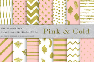 Download Free Pink Gold Digital Paper Gold Pattern Graphic By Bonadesigns for Cricut Explore, Silhouette and other cutting machines.