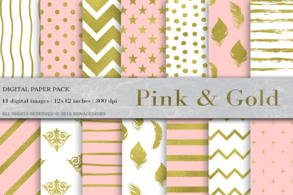 Pink Gold Digital Paper, Gold Pattern Graphic Patterns By BonaDesigns