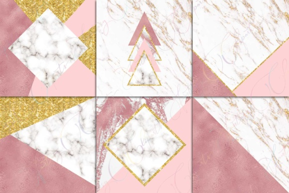 Pink, Marble & Gold Glitter Digital Paper