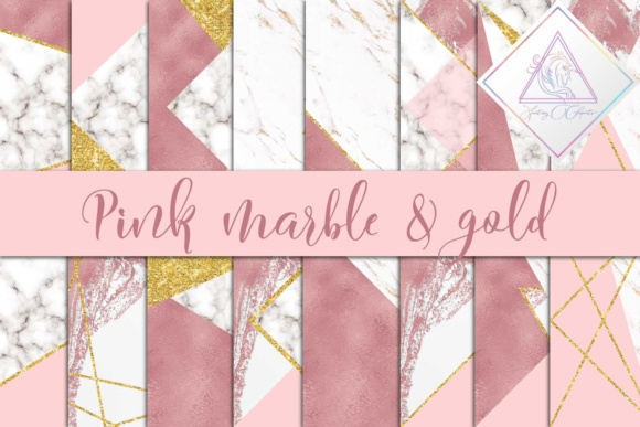 Print on Demand: Pink, Marble & Gold Glitter Digital Paper Graphic Textures By fantasycliparts