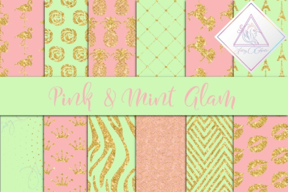 Print on Demand: Pink & Mint Glam Digital Paper Graphic Textures By fantasycliparts