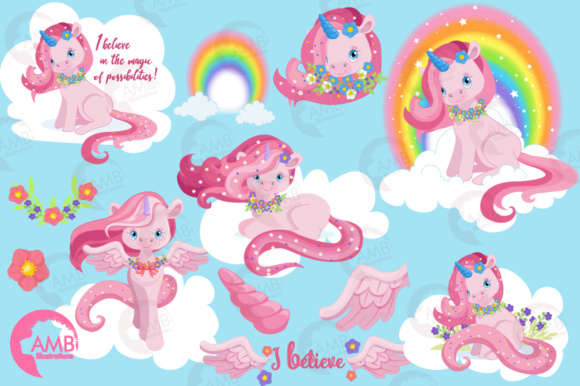 Pink Unicorns Clipart Graphic Illustrations By AMBillustrations - Image 4