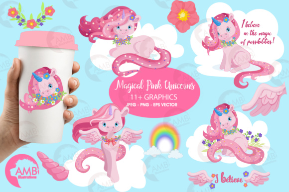 Pink Unicorns Clipart Graphic Illustrations By AMBillustrations - Image 1