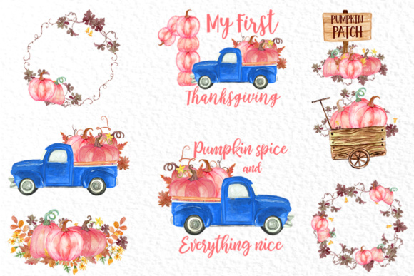 Download Free Pink Watercolor Pumpkin Clipart Graphic By Vivastarkids for Cricut Explore, Silhouette and other cutting machines.