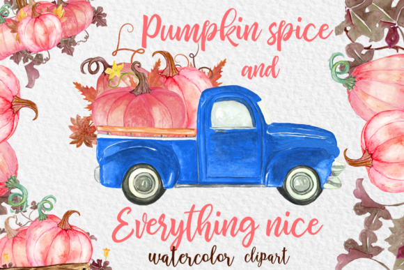 Pink Watercolor Pumpkin Clipart Graphic Illustrations By vivastarkids