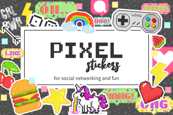 Pixel Stickers for Social Media Graphic Illustrations By elenachooart