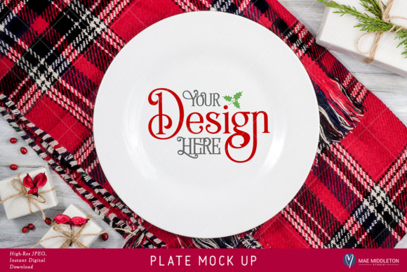 Plate Mock Up for Christmas, Holiday Styled Stock Photo - High-res JPEG Format