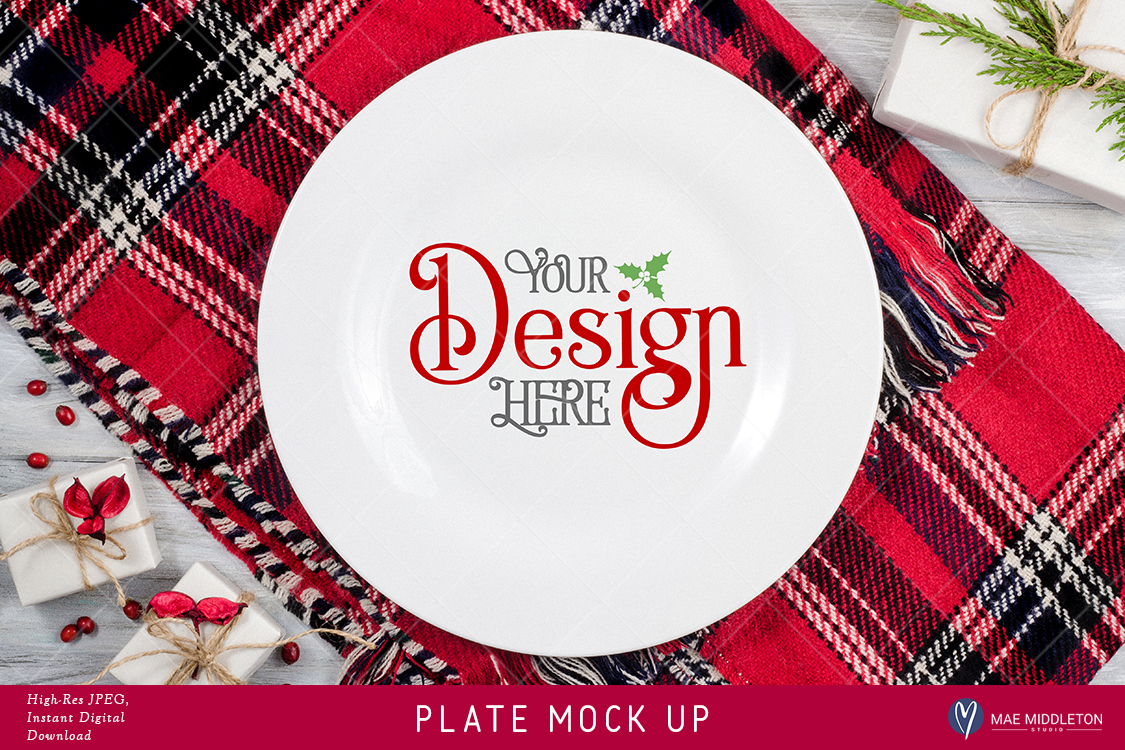 Download Free Plate Mock Up For Christmas Holiday Styled Stock Photo High Res for Cricut Explore, Silhouette and other cutting machines.